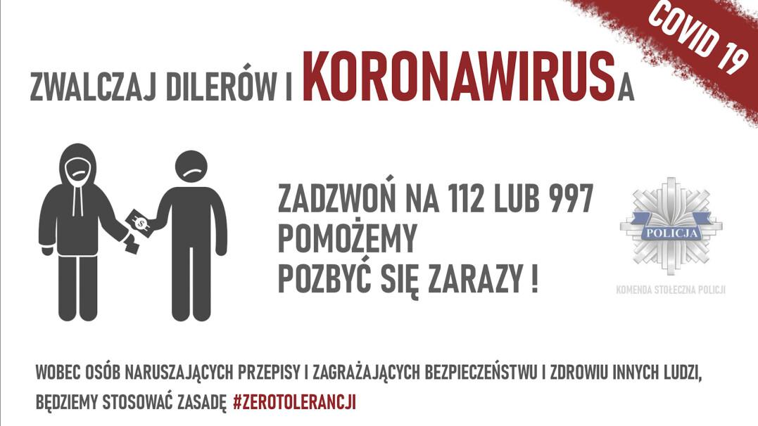 #zerotolerancji – Komenda Stołeczna Policji walczy z koronawirusem i... narkotykami