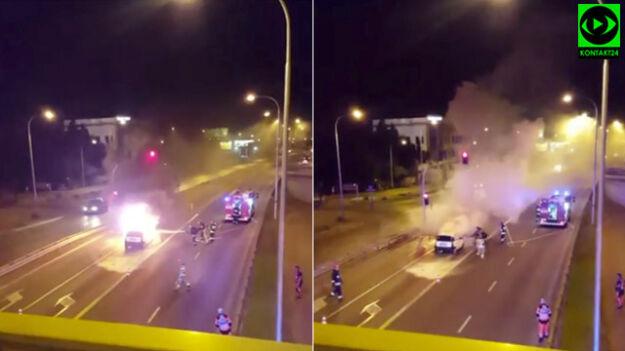 Strażacy w akcji. Gasili płonący samochód na Wale Miedzeszyńskim