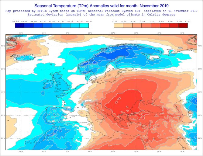 Prognozowane odchylenie średniej miesięcznej temperatury od normy wieloletniej dla listopada (ECMWF )