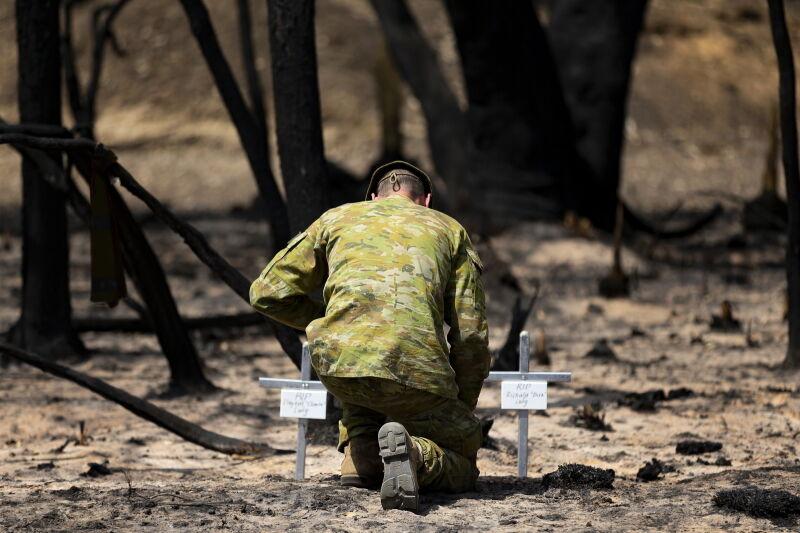 Groby osób, które zginęły na wyspie Kangura (PAP/EPA/TRISTAN KENNEDY/AUSTRALIAN DEFENCE FORCE HANDOUT)