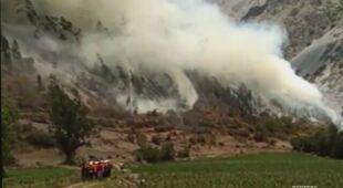 Pożar lasu w pobliżu Machu Picchu